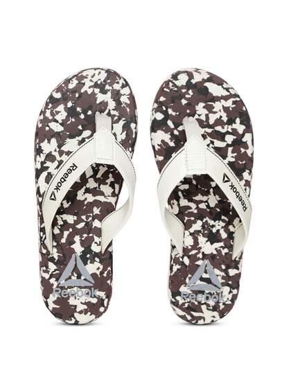 be3ef0b5a7147f Reebok Men Off-White   Brown Ranger Camouflage Print Thong Flip-Flops