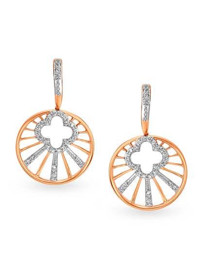 Mia by Tanishq 14-Karat Rose Gold Diamond Drop Earrings