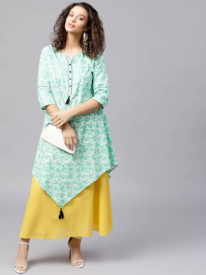 Shree Women Green & Yellow Printed Maxi Dress