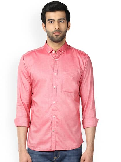 Park Avenue Men Coral Slim Fit Self Design Casual Shirt