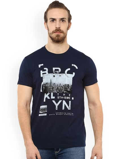 Mufti Men Navy Blue Printed Round Neck T-shirt