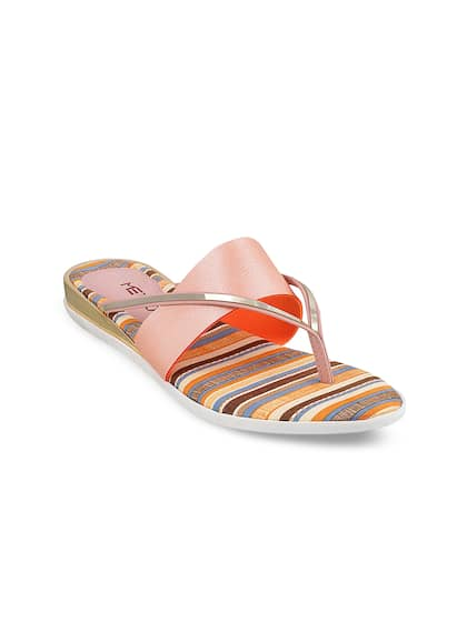 2649004be Metro Women Peach-Coloured Solid Synthetic Open Toe Flats