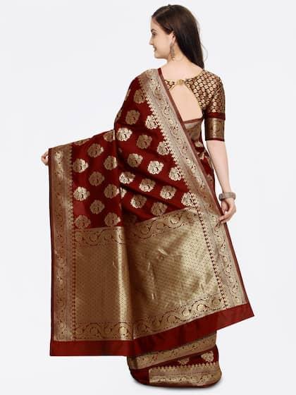 Shaily Maroon Pure Silk Woven Design Banarasi Saree