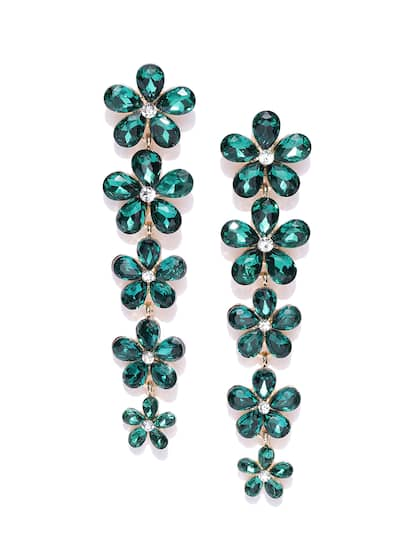 6408e2a74 Type. YouBella Green Gold-Plated Stone-Studded Floral Drop Earrings