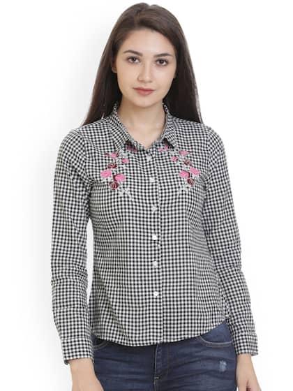 bdebc7350c Alibi Women Black   White Regular Fit Checked Casual Shirt