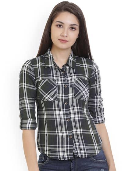 36c00c167d Alibi Women Green   White Regular Fit Checked Casual Shirt