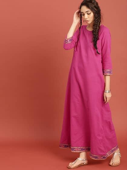 Taavi Women Pink South Cotton Woven Legacy Ethnic Maxi Dress