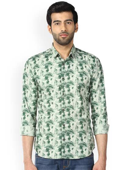 Park Avenue Men Green Slim Fit Printed Casual Shirt