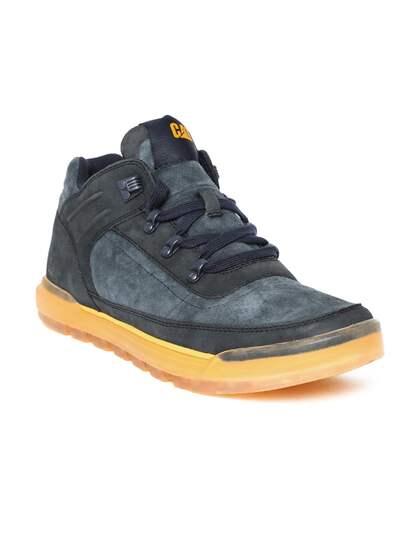 CAT Men Navy Blue Suede Leather Sneakers