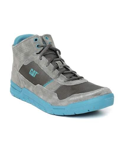 CAT Men Grey Solid Suede Mid-Top Sneakers