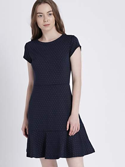 9825b22d943 GAP Women s Navy Blue Short Sleeve Fit and Flare Peplum Dress in Ponte