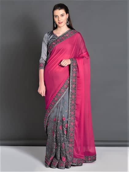 0805fb2d8 Embroidered Sarees - Buy Designer Embroidery Saree Online | Myntra