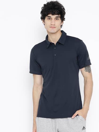 Adidas Men Navy Blue Solid Climachill Polo Tennis T-shirt