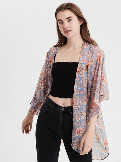 cae4df944e4 AMERICAN EAGLE OUTFITTERS. Printed Open Front Shrug