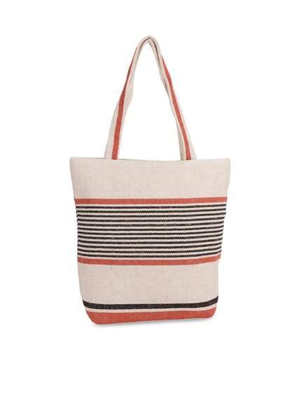 Diwaah Cream Coloured Black Self Design Tote Bag