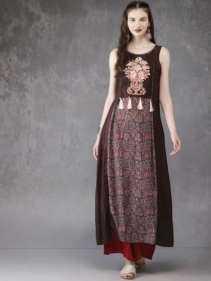 4313b53bebf6 Anouk Women Brown Printed A-Line Kurta