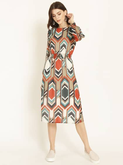 64a50e482cf2 RARE ROOTS Women Multicoloured Printed Fit and Flare Dress