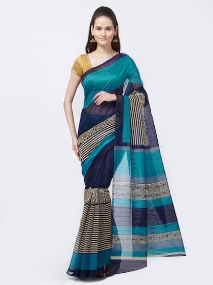Rajesh Silk Mills Blue Printed Silk Cotton Bhagalpuri Print Saree