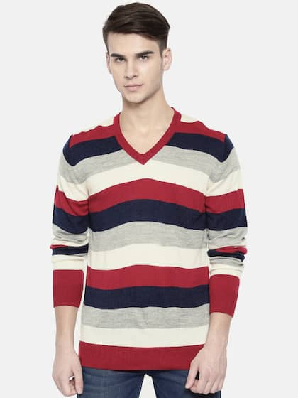 Indian Terrain Men Red & Navy Blue Striped Pullover