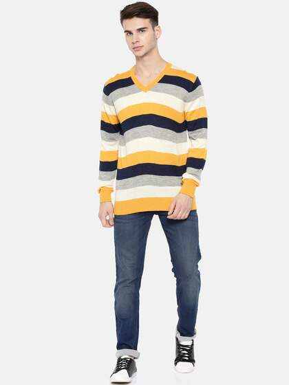 Indian Terrain Men Mustard & Navy Blue Striped Pullover