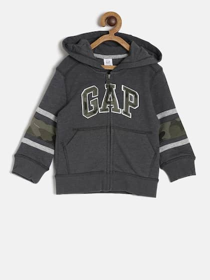 fb440035d72d GAP Boys' Charcoal Grey Printed Logo Hoodie in French Terry