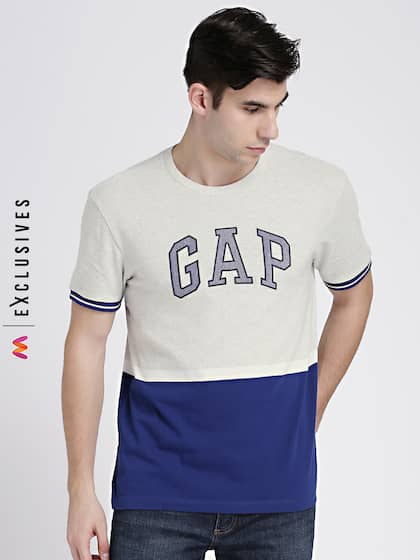 GAP Men s Grey   Blue Logo Colorblocked Short Sleeve Crewneck T-Shirt 5f673f6417