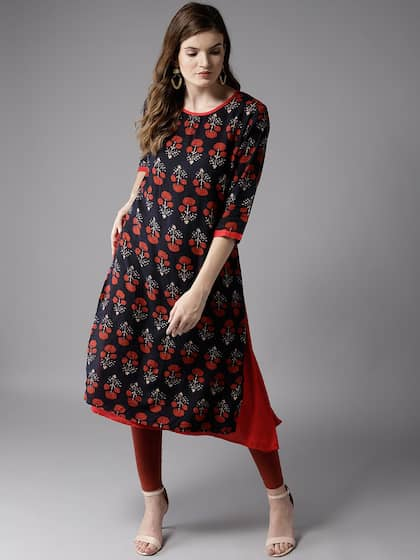 HERE&NOW Women Navy Blue & Red Layered Printed Kurta with Churidar