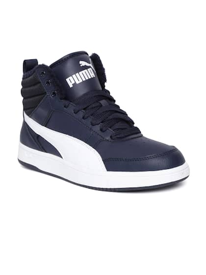 6faf0e95ca9 Puma Men Navy Rebound Street v2 Fur Leather Mid-Top Sneakers