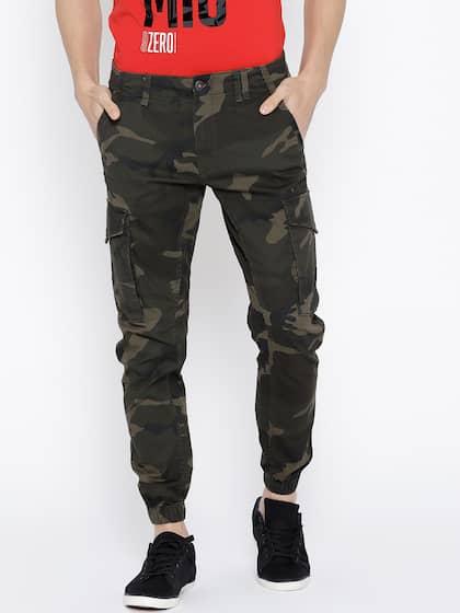55cbf6eb3b7cc Jack   Jones Men Olive Green Tapered Fit Camouflage Print Joggers