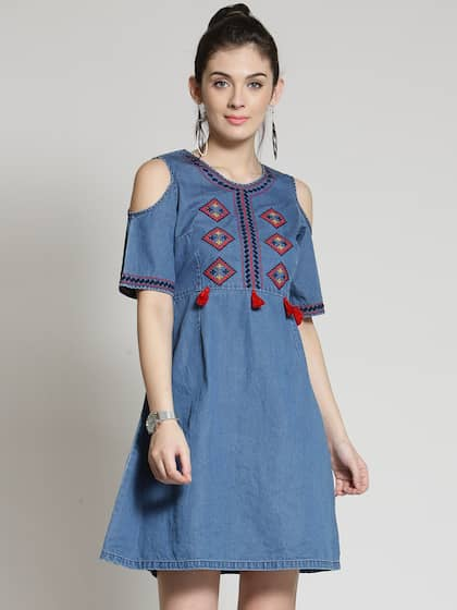 Denim Dresses , Buy Denim Dresses Online in India