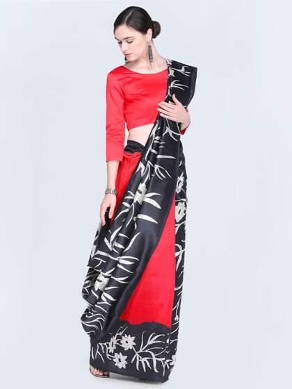 Satrani Black & Red Printed Saree