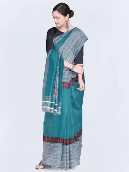 Satrani Teal Blue Solid Bhagalpuri Saree