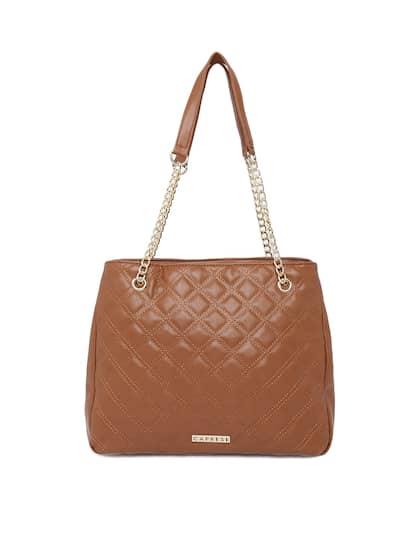 Caprese Tan Brown Solid Shoulder Bag