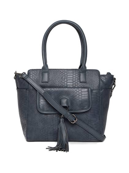 United Colors Of Benetton Navy Blue Snakeskin Textured Handheld Bag
