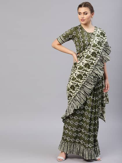 934762c346 AKS Green & Beige Printed One Minute Ruffled Saree with Stitched Pleats