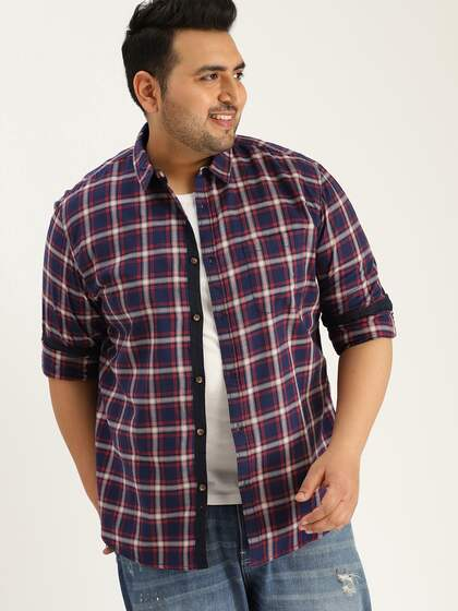 d483bcfb25d Size. Sztori Men Navy Blue   Red Slim Fit Checked Casual Shirt