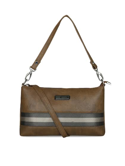 Esbeda Brown Striped Handheld Bag