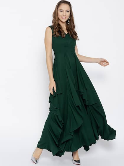 Berrylush Women Green Solid Maxi Dress