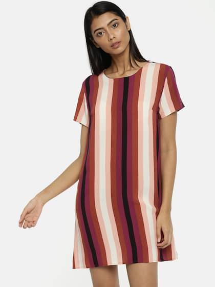 Forever 21 Women Multicoloured Striped T Shirt Dress