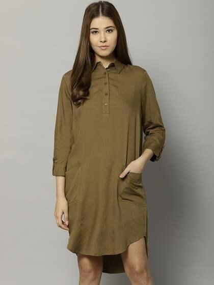 Marks Spencer Women Olive Green Solid Shirt Dress