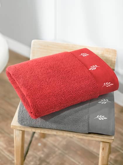 Swiss Republic Set Of 2 Red Grey 600 GSM Woven Design Bath Towels
