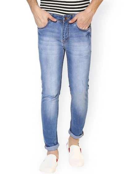REALM Men Blue Skinny Fit Mid-Rise Clean Look Stretchable Jeans