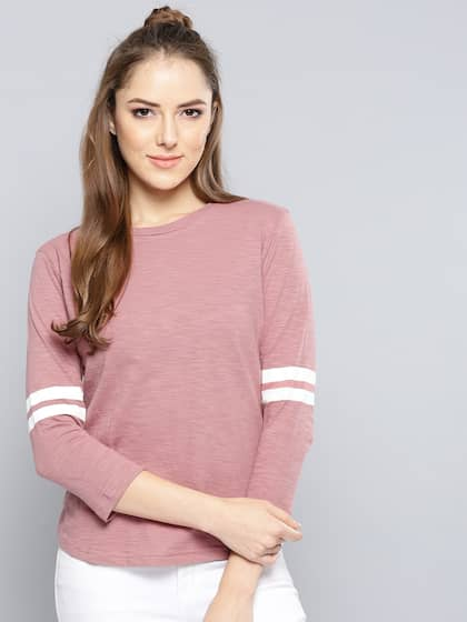 daf479550ef Neck. + 11 more. Harpa Women Dusty Pink Solid Round Neck T-shirt
