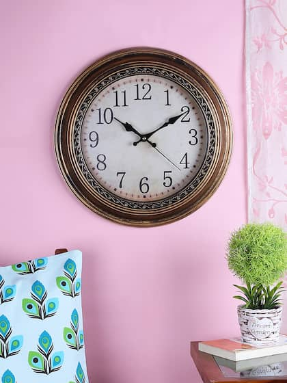 House Of Accessories Off White Brown Round Solid Ogue Wall Clock