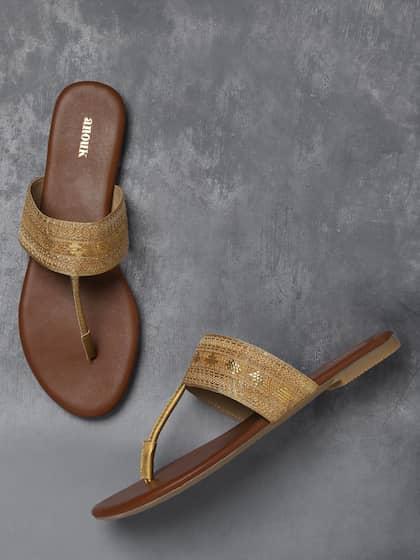 564e61657471ad Anouk Women Gold-Toned Woven Design T-Strap Flats