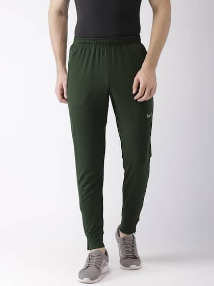 Nike Men Olive Green Solid ESSNTL KNIT DRI-FIT technology Running Joggers 3afb874c06b