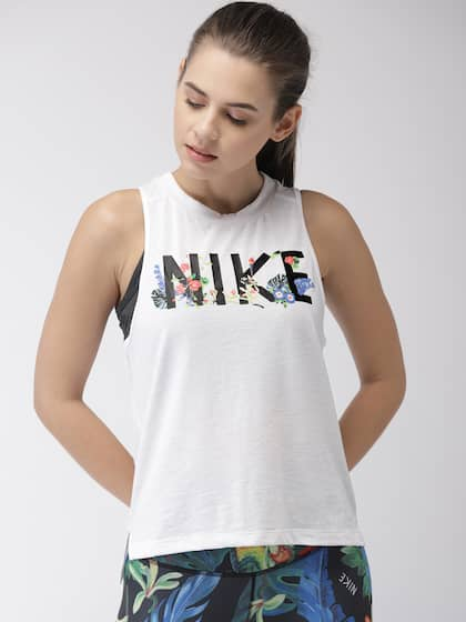 33f739b9e419fe Nike Women White Standard Fit AS W NK MILER TANK FEM DRI-FIT Printed Running