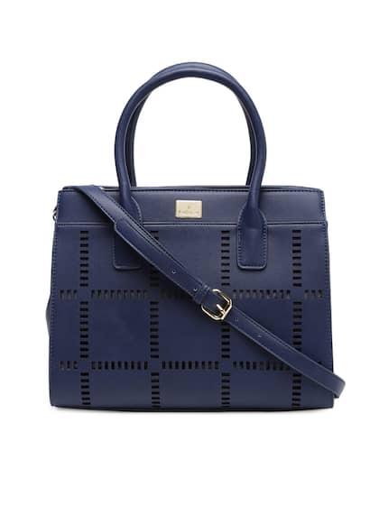 Van Heusen Woman Blue Self Design Handheld Bag