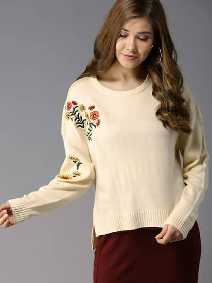 HERE&NOW Women Cream-Coloured Solid Pullover