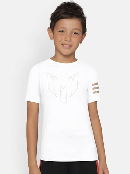 cheap for discount c0d18 211fe Adidas Boys White Printed Round Neck T-shirt